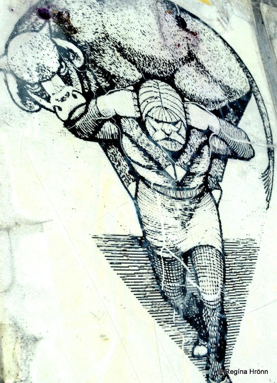Grettir carrying the ox at Reykhólar