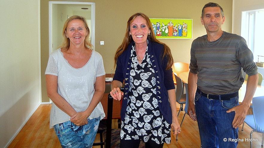 Regína with the proprietors of Reykhólar hostel Westfjords of Iceland