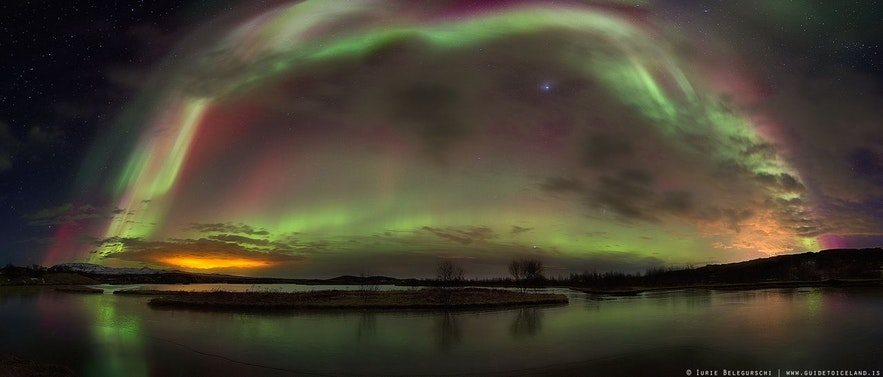 Les aurores boréales de plusieurs couleurs en même temps en Islande