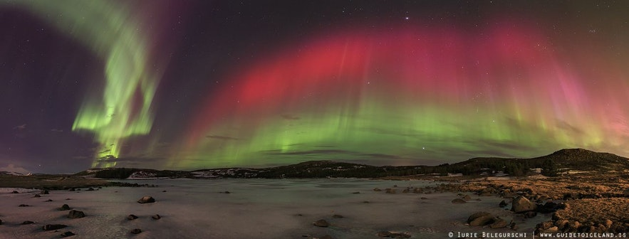 Aurora in strong pink over a snowy Icelandic landscape.