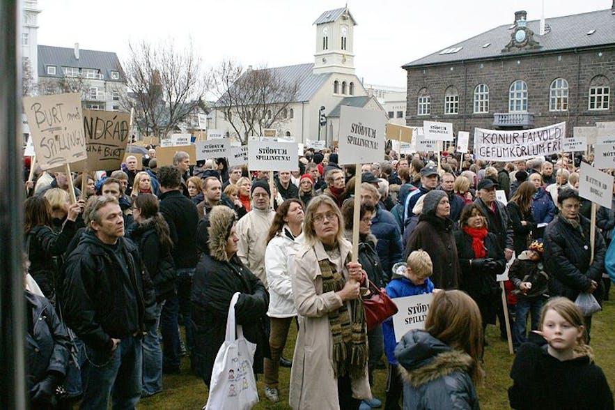 2008년 주방용품 혁명 시위를 위해 모인 시민들