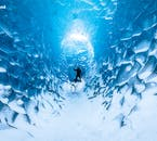 Blue ice and pristine white snows define the ice caves of Iceland.
