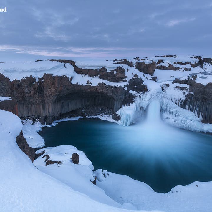 Aldeyarfoss is a waterfall between north Iceland and the Highlands, accessible even in winter.
