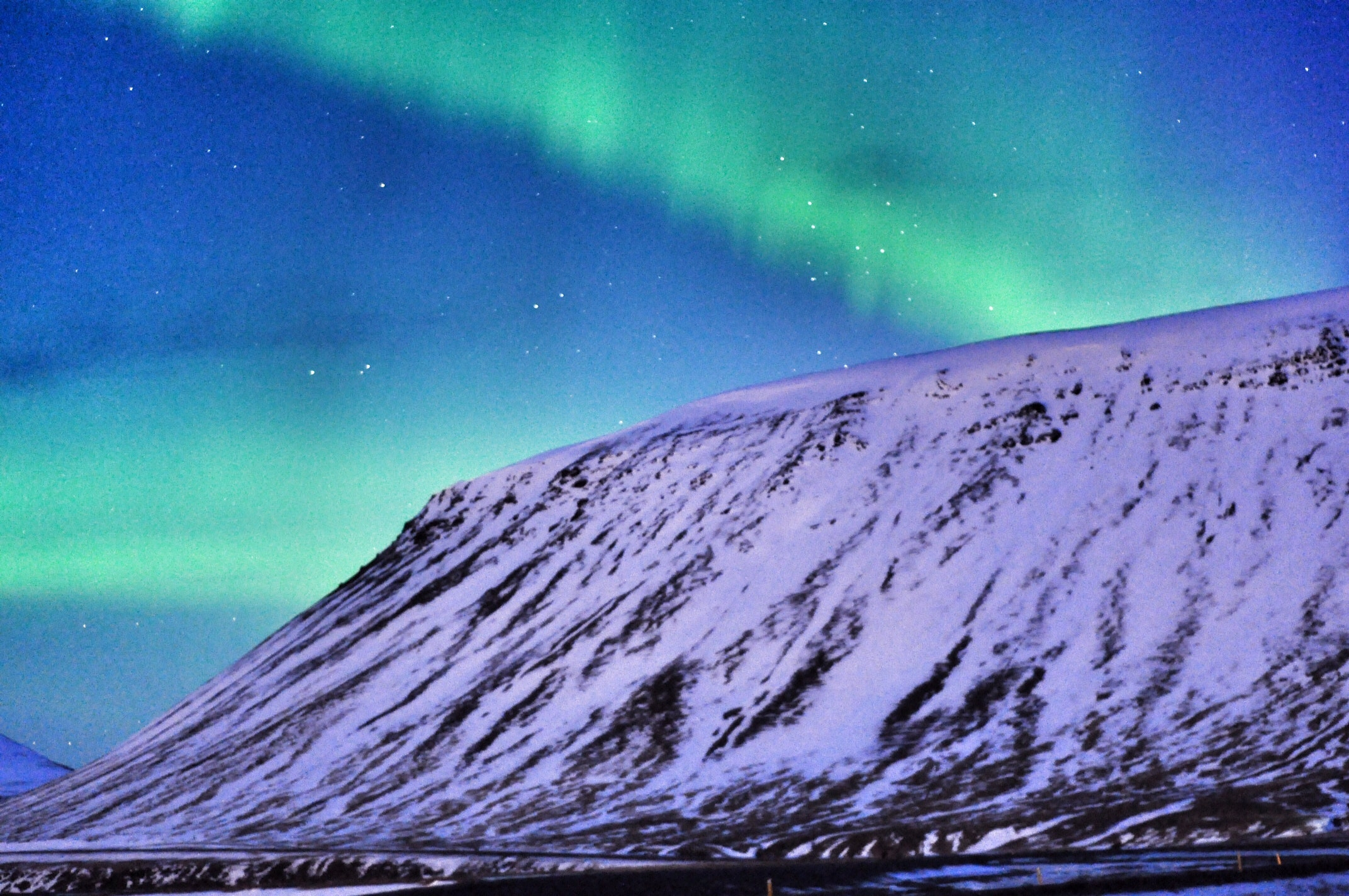 Northern lights above Snæfellsnes peninsula in west Iceland