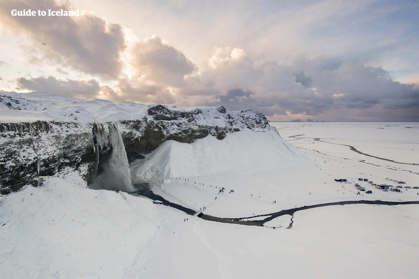 The major attractions of the South Coast of Iceland include the stunning waterfall of Seljalandsfoss, pictured here in winter.