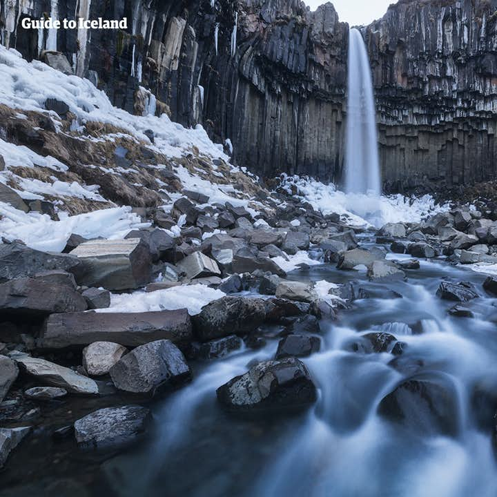 Svartifoss in winter is a stunning attraction in Skaftafell Nature Reserve, part of a National Park in south Iceland.
