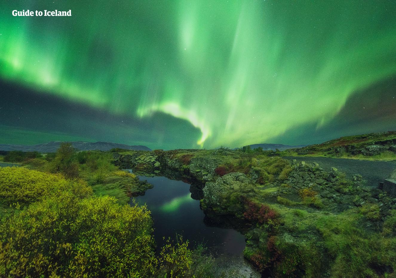 冰岛丝浮拉大裂缝中注满了纯净的冰川水,能见度可达100米,是浮潜的完美地点。