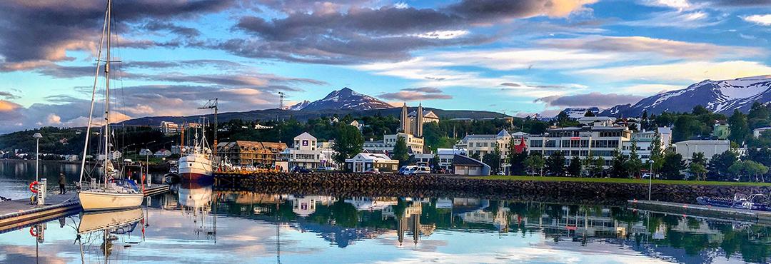 Scenic view of the town of Akureyri