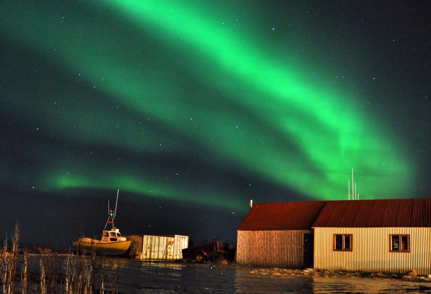 Aurora Borealis a.k.a. the northern lights in Snæfellsnes peninsula