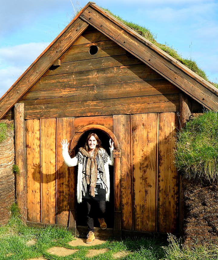 Regína by The beautiful Geirsstaðakirkja Turf Church in East-Iceland - a Replica of an old Turf Church