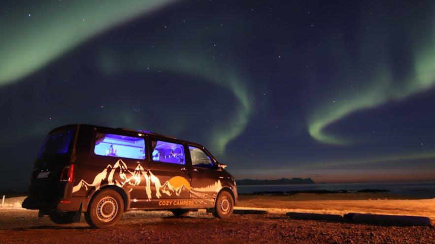 Iceland Cozy Camper campervan with Northern Lights