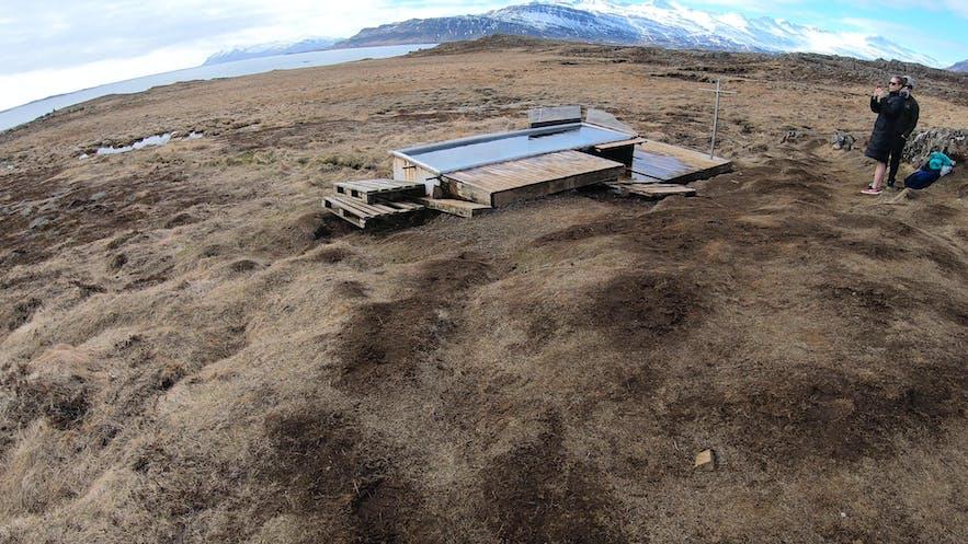 Icelandic hot pot in east fjords