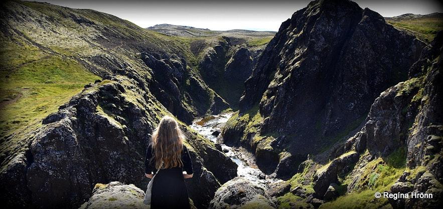 Regína by Tröllafoss - Trolls' Falls in Mosfellsdalur Valley in South-West Iceland
