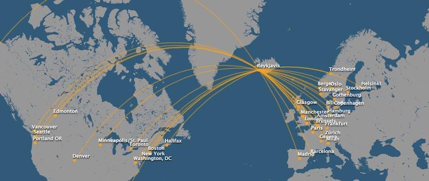 冰岛航空航线图