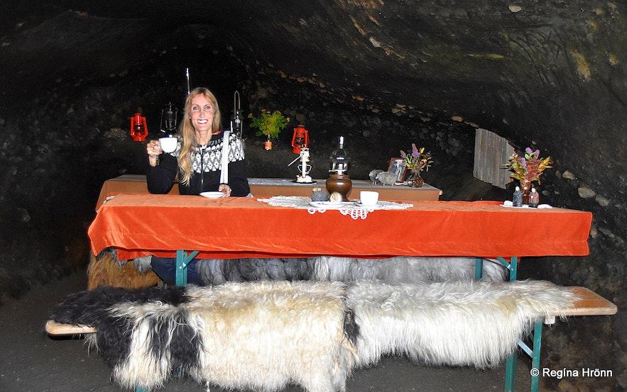 At the new café inside Laugarvatnshellir cave