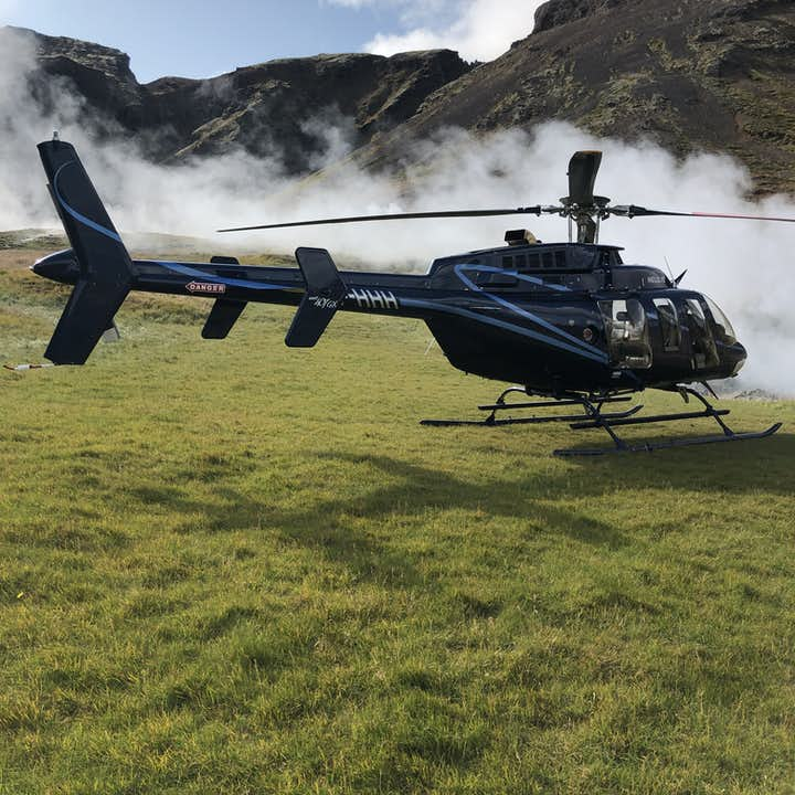 A helicopter in a geothermal area in Iceland