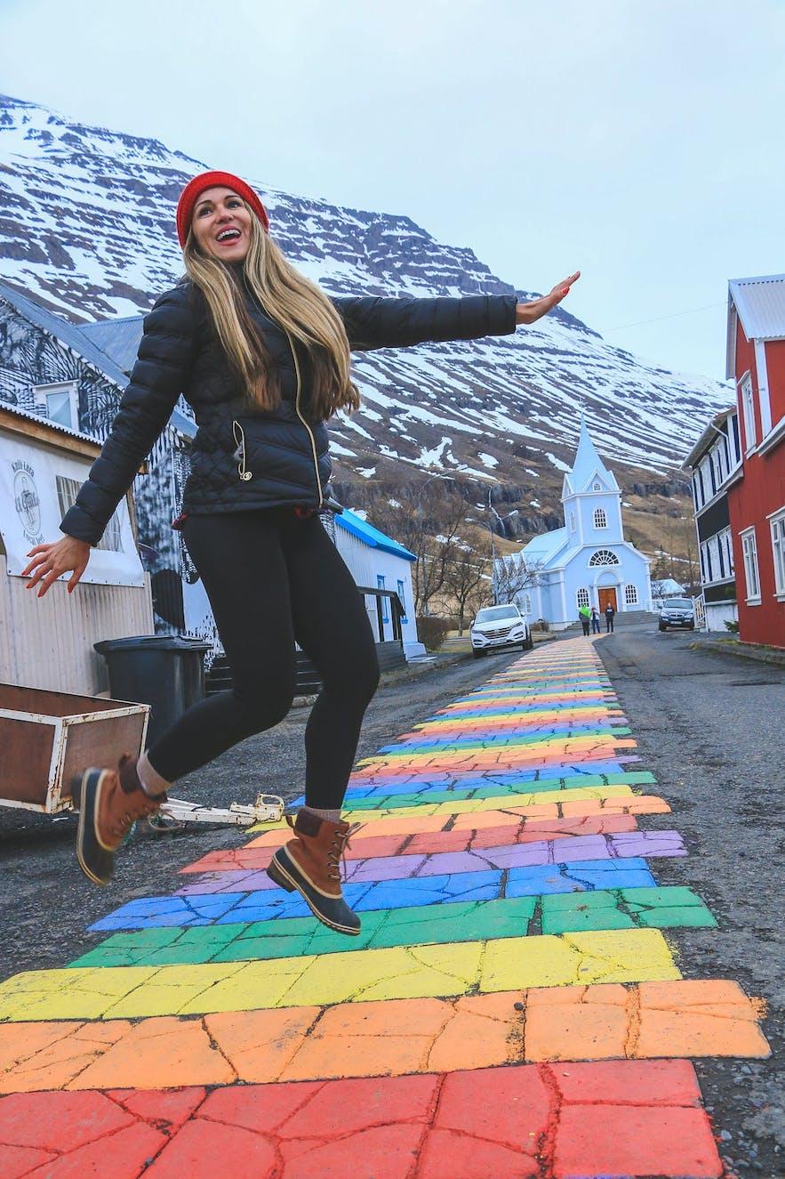 Seydisfjordur rainbow road
