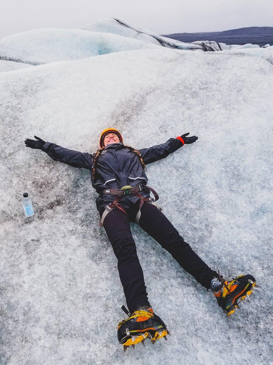 Enjoying the Glacier in Iceland