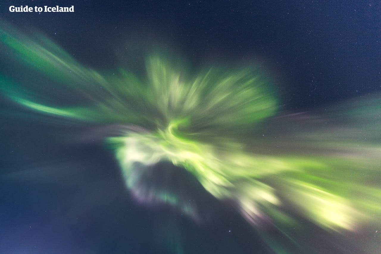 A shot of northern lights directly above the photographer