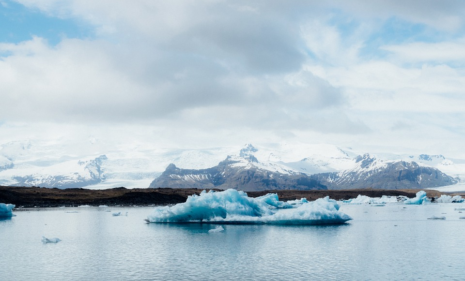 Jokulsarlon Glacier Lagoon, the deepest glacial lake in Iceland, situated in the South East part of the country.