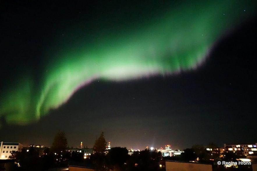 Beautiful Northern Lights in Reykjavík