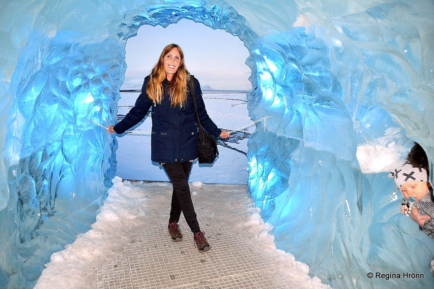 Regína at the ice cave in Perlan - the Pearl Reykjavík