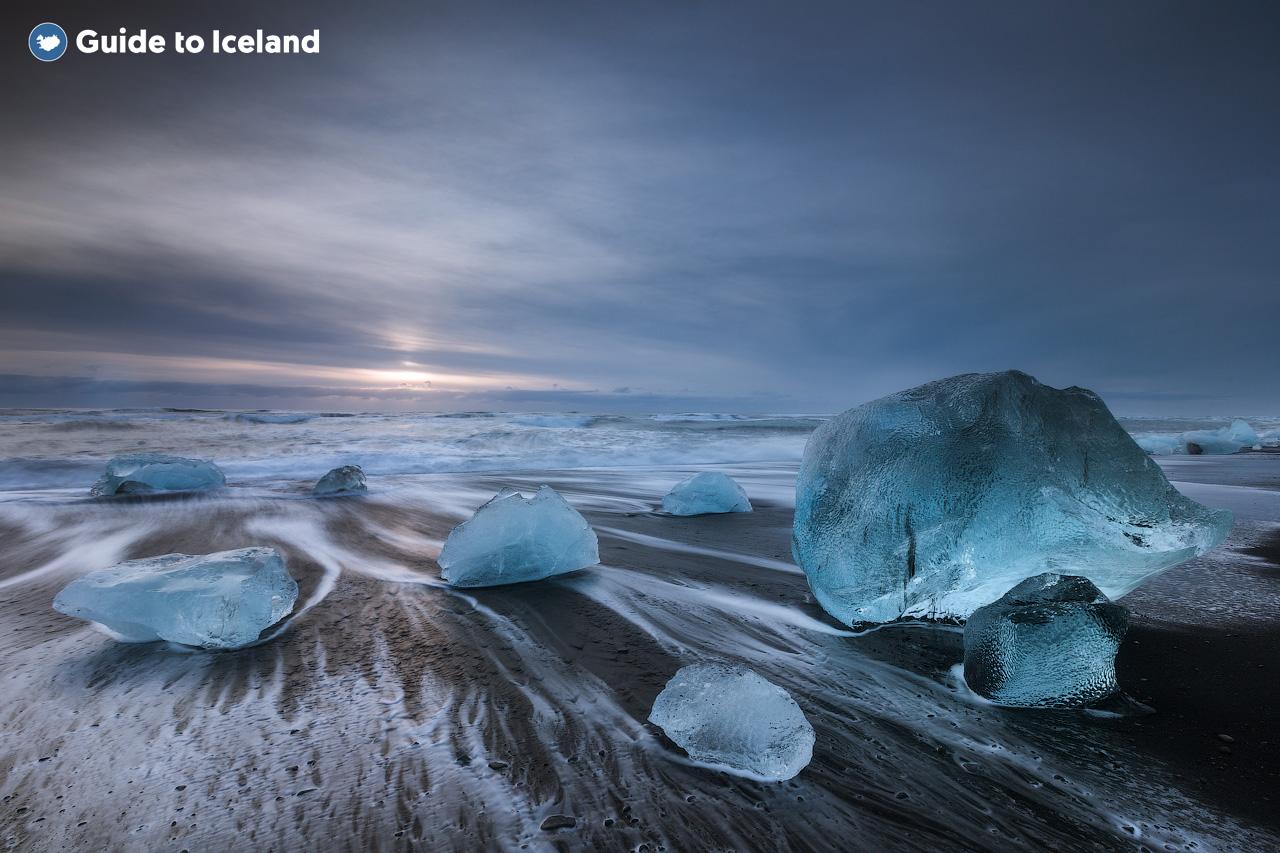 Skaftafell is located near the Diamond Beach in Iceland.