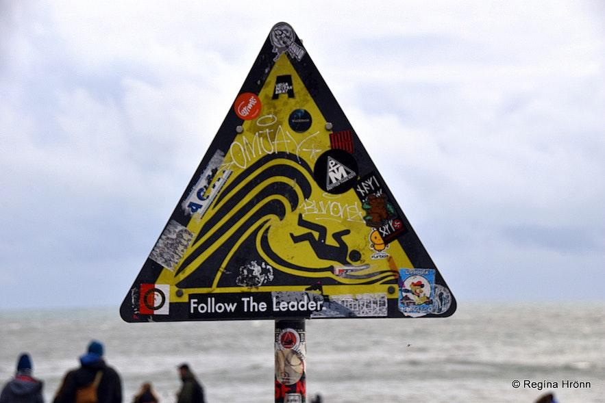 The warning sign at Reynisfjara beach