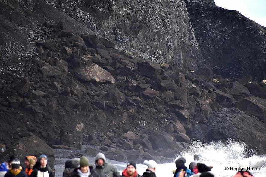 Landslide on Reynisfjara beach