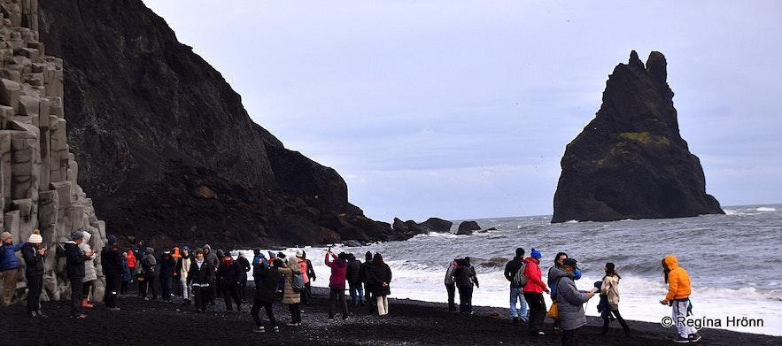 Crowds at Reynisfjara beach