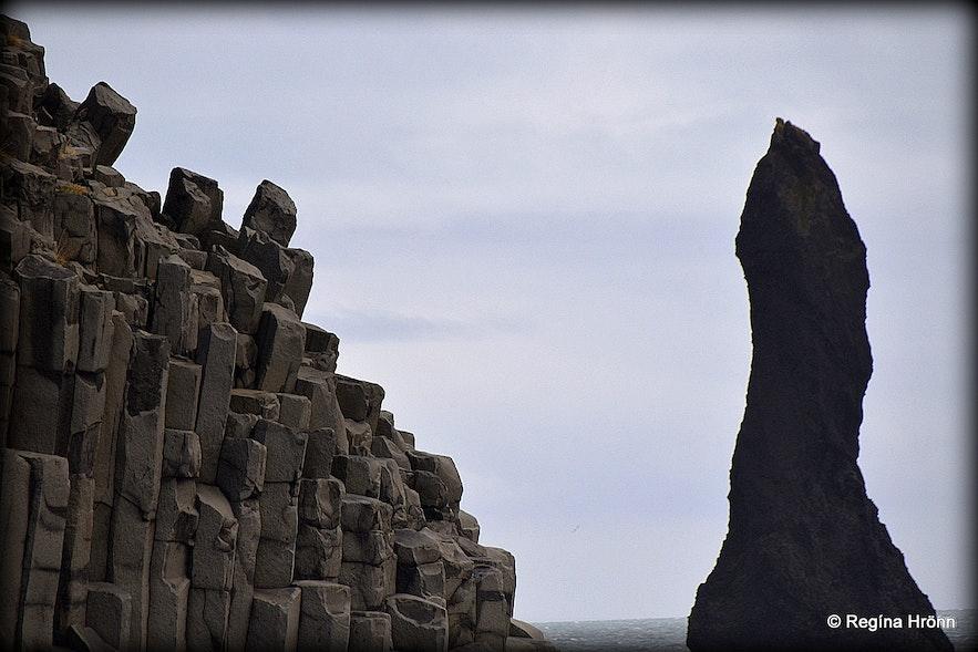Basalt columns and sea stacks at Reynisfjara beach