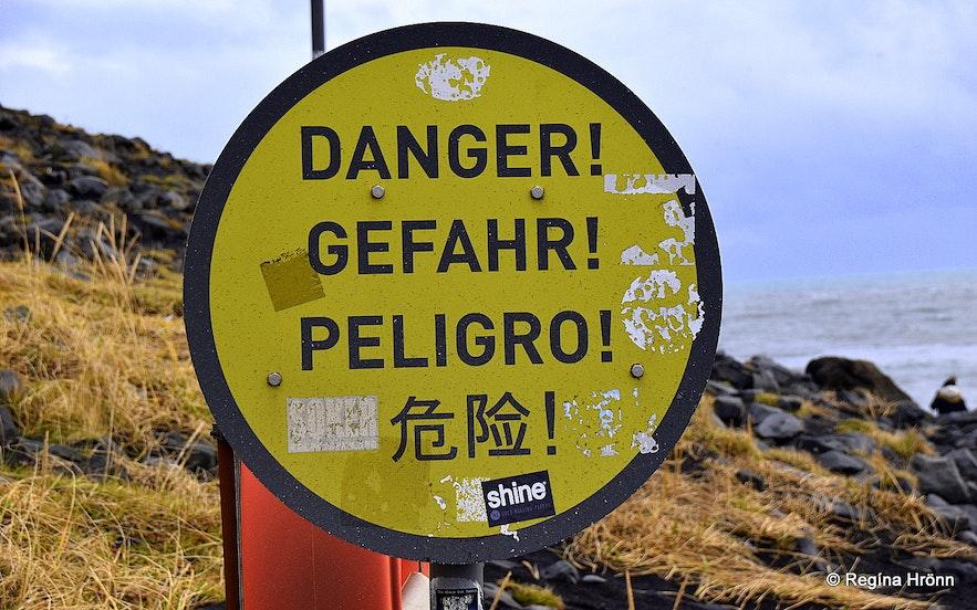 A danger sign at Reynisfjara beach