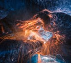 Playing with light in the ice caves of Iceland makes for some great photographs.