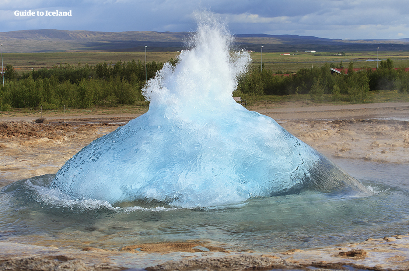 Strokkur hot spring will erupt routinely every five to ten minutes, though its height and regularity have fluctuated over the last centuries.
