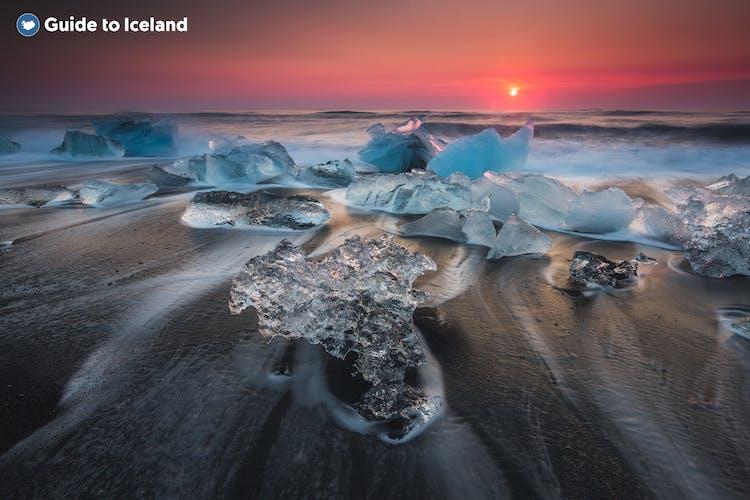 Huge icebergs romantically hugging the shore.