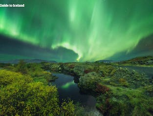 Þingvellir National Park is a wonderful place to admire the aurora borealis.