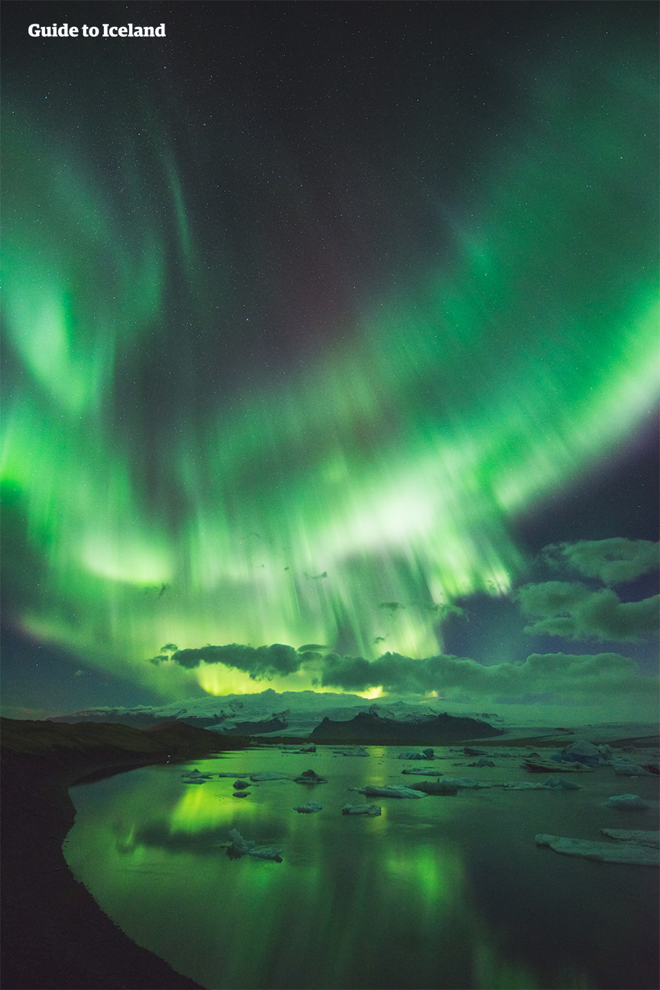 Jökulsárlón is a perfect place for Northern Lights photography.