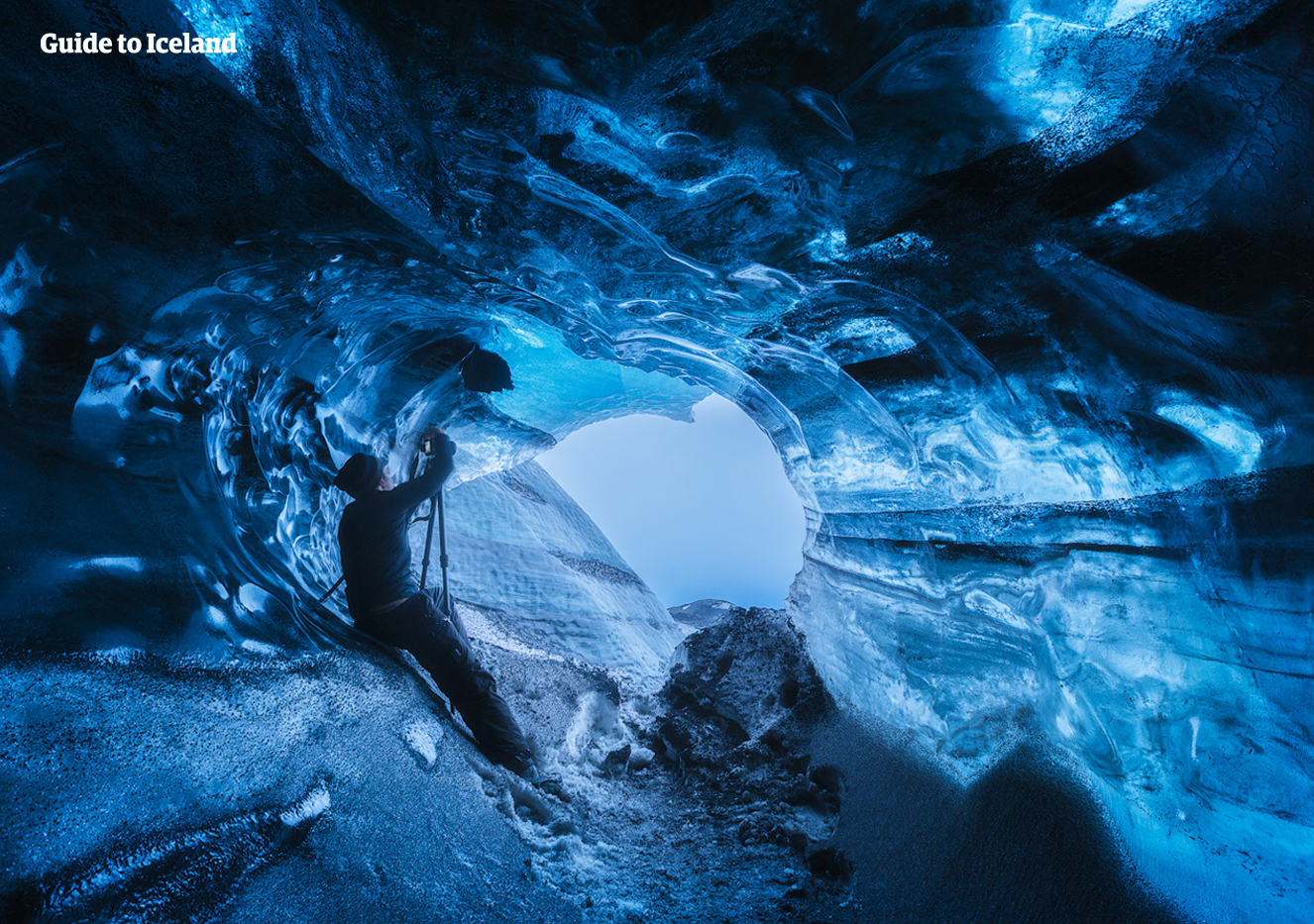 The different blues and hues of this ice cave are awe-inspiring.