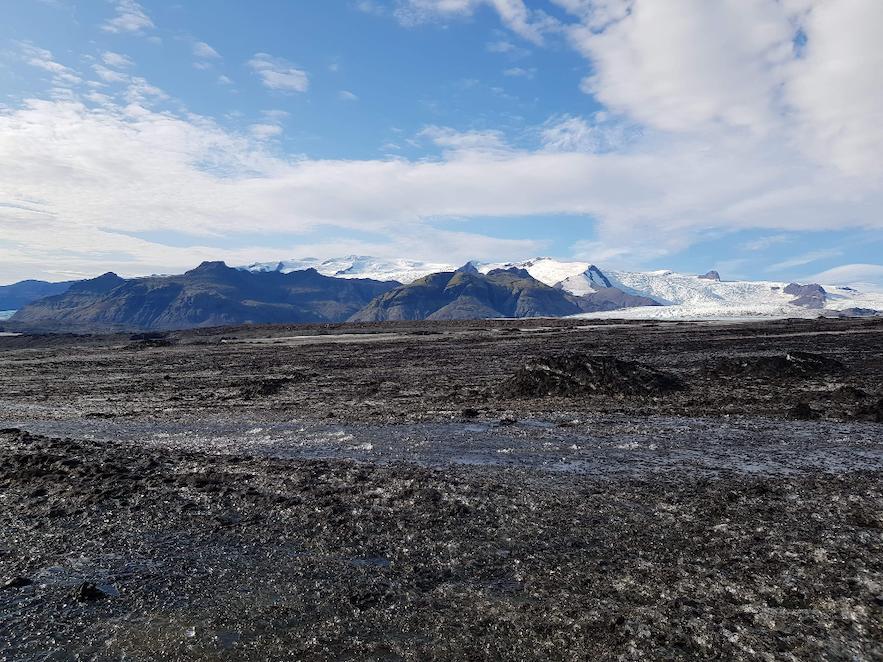 Aussicht von dem Gletscher in Island.