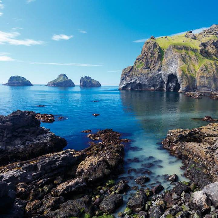 Elephant rock sits just off the coast of Heimaey, Westman Islands