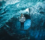 A girl taking in the sights of the ice cave