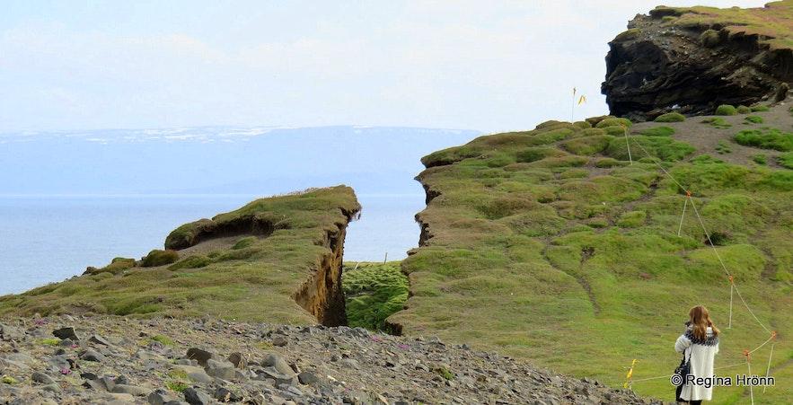 Regína at  Ketubjörg Cliffs and Dalshorn at Skagi in North-Iceland