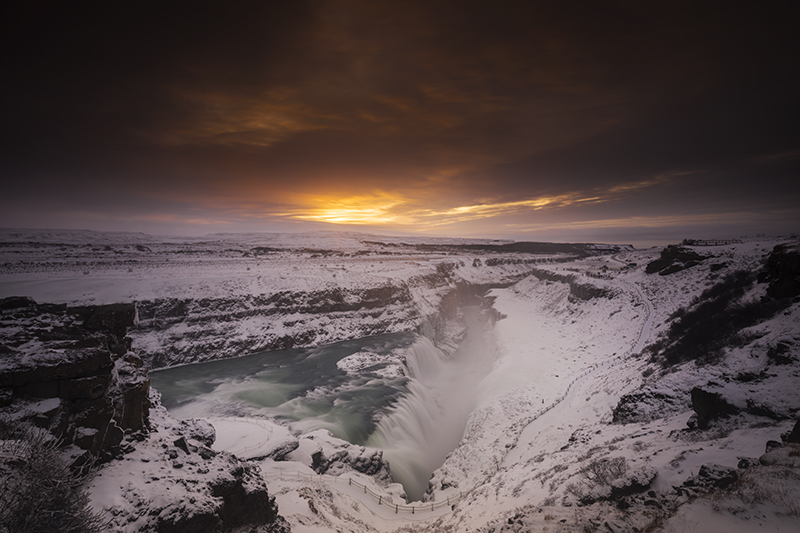 Gullfoss waterfall is one of the main sites on the Golden Circle in Iceland
