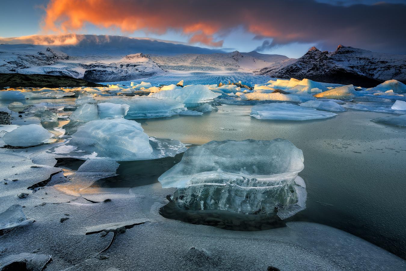 Jokulsarlon glacier lagoon, where pieces of glacier break off an float towards the Diamond Beach.