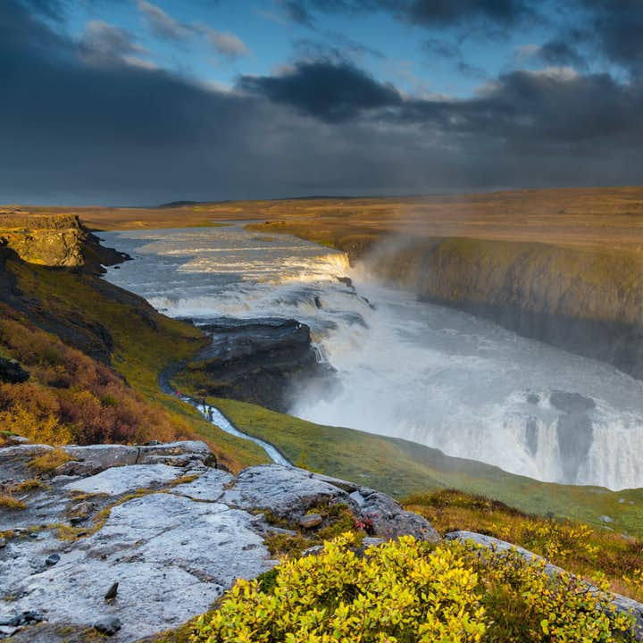 Godafoss waterfall on the Golden Circle is a mighty powerful waterfall