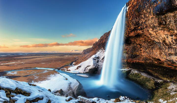 Seljalandsfoss waterfall in the winter time