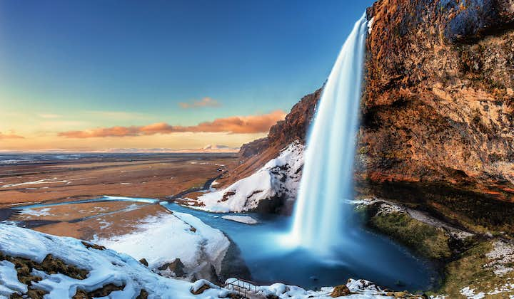 Seljalandsfoss Waterfall on Iceland's South Coast photographed in winter.