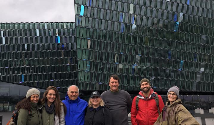 A group of people on the walking tour standing outside Harpa