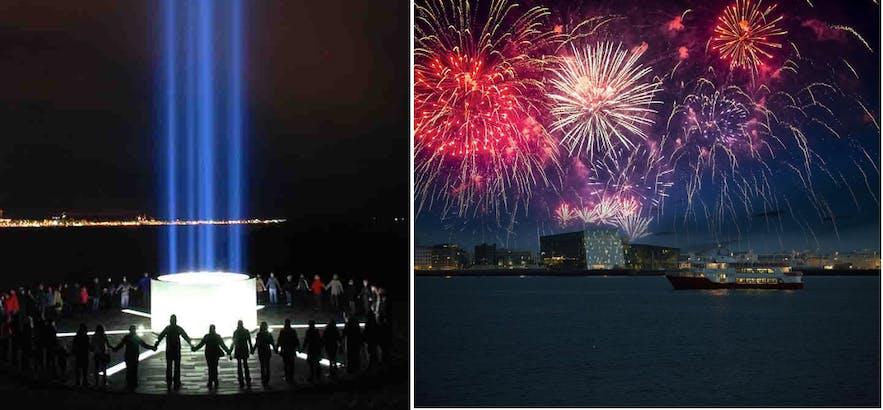 冰岛想象和平之塔旅行团、新年除夕夜跨年焰火庆祝船游