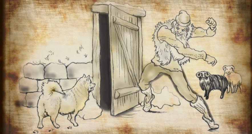 Door-Slammer is one of the more ominous Icelandic Yule Lads.